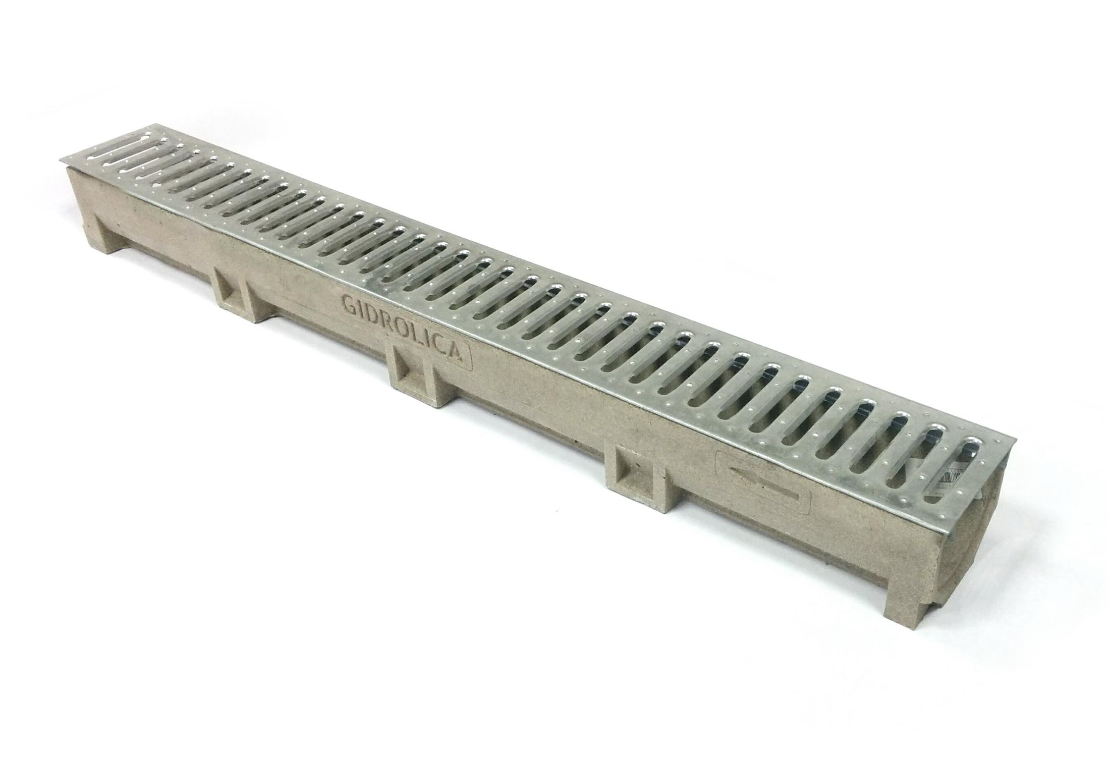 Лоток водоотводный, 1000х120х100 мм, полимербетонный со стальной решеткой Гидролика