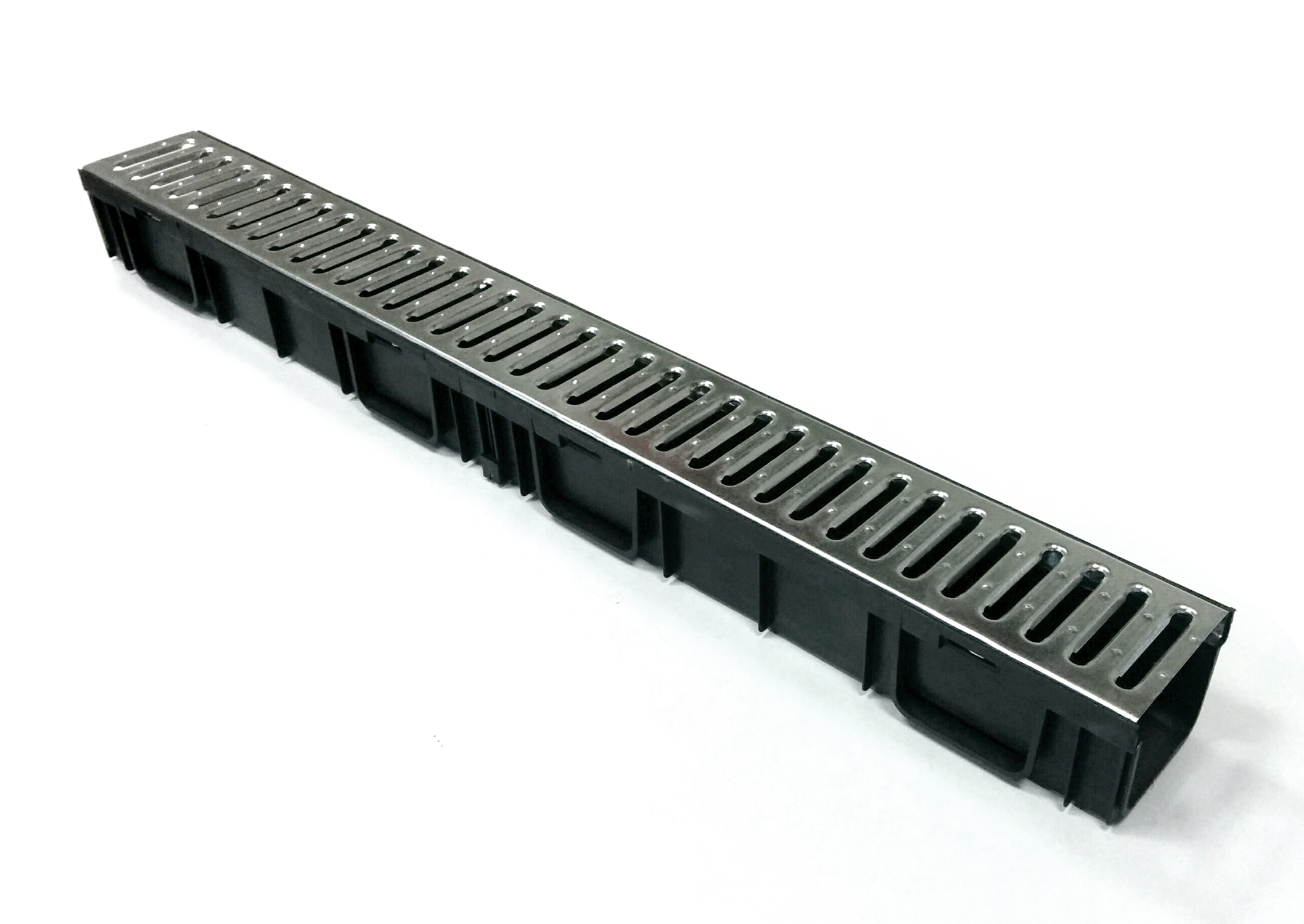 Лоток водоотводный, 1000х115х95 мм, пластиковый со стальной решеткой Гидролика
