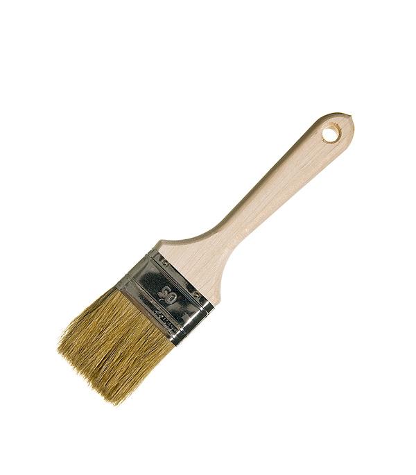 Кисть плоская  50 мм натуральная щетина деревянная ручка Wenzo Стандарт