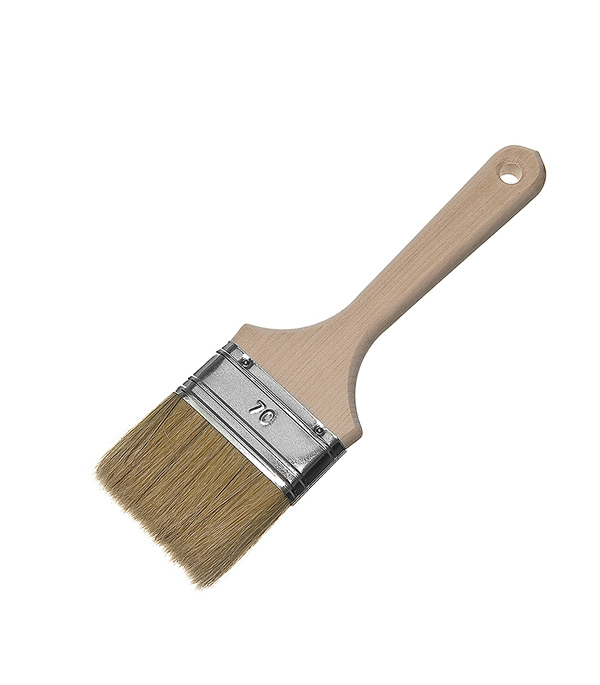 Кисть плоская  70 (75) мм натуральная щетина деревянная ручка Wenzo Стандарт