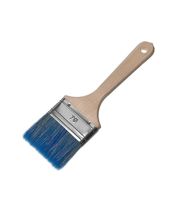 Кисть плоская  70 (75) мм смешанная щетина деревянная ручка Wenzo Стандарт