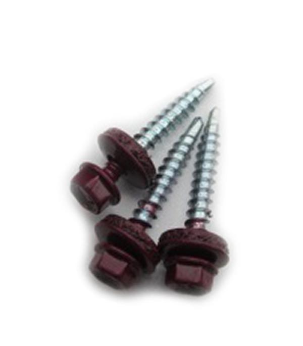 Саморезы кровельные с буром 50х4,8 мм красное вино RAL 3005 (40 шт)