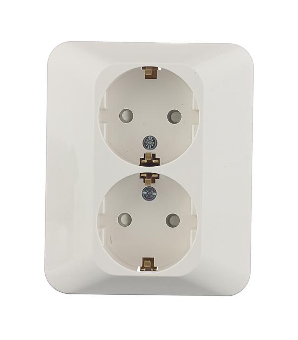 Розетка двойная Schneider Electric M-TREND с/у с заземлением со шторками белая рамка трехместная schneider electric m trend белая