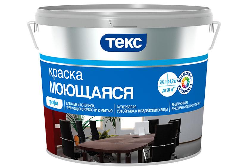 Краска в/д моющаяся супербелая профи основа А Текс 9 л/14,2 кг