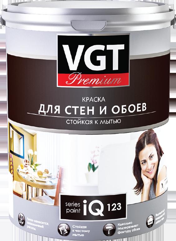 Краска в/д  моющаяся для обоев и стен  iQ123 основа  А глубокоматовая VGT 2 л