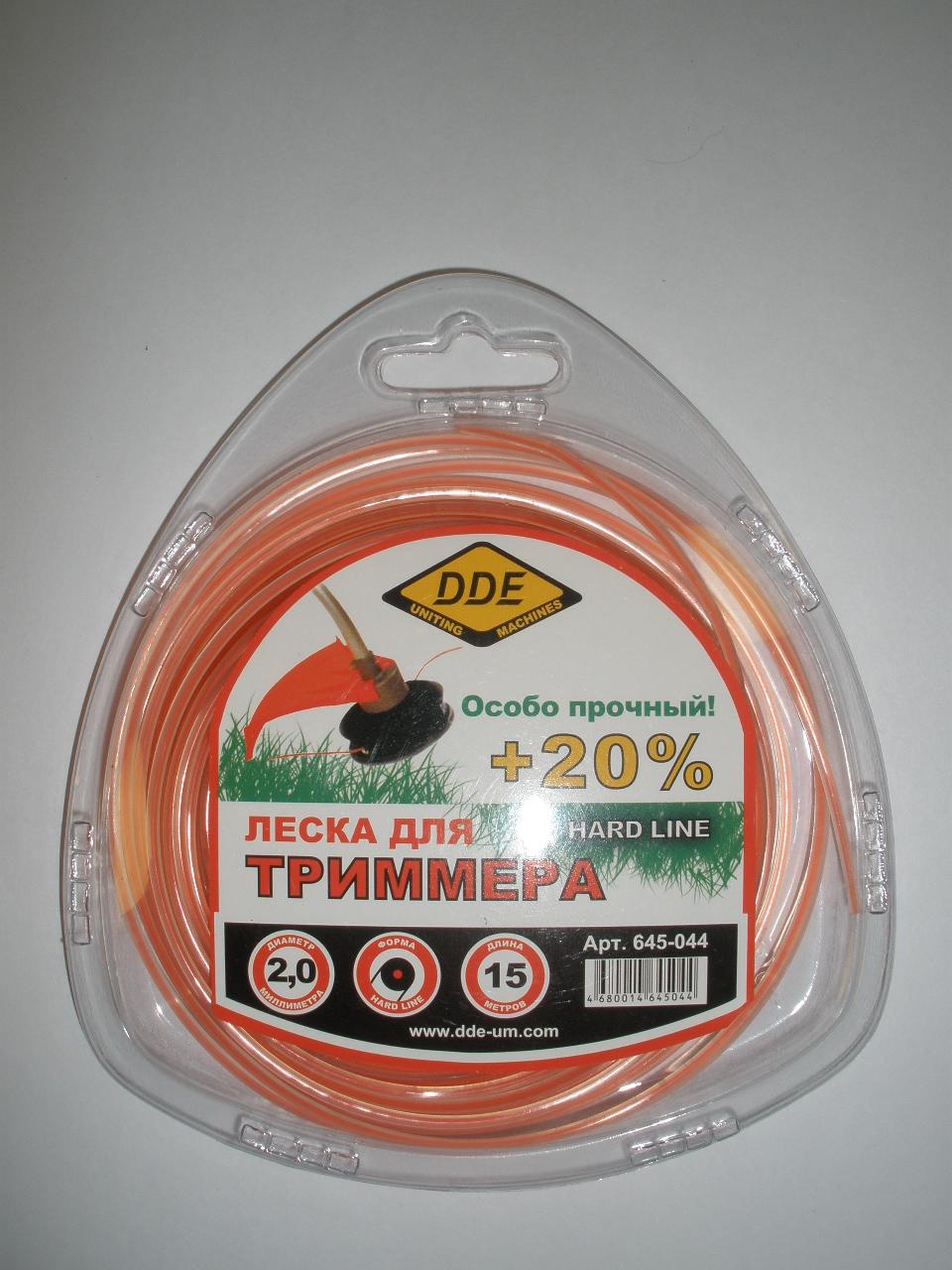 Леска (корд) 2,0 мм х 15 м, Hard line, армированная, сечение-круг, цвет-серый/красный, DDE