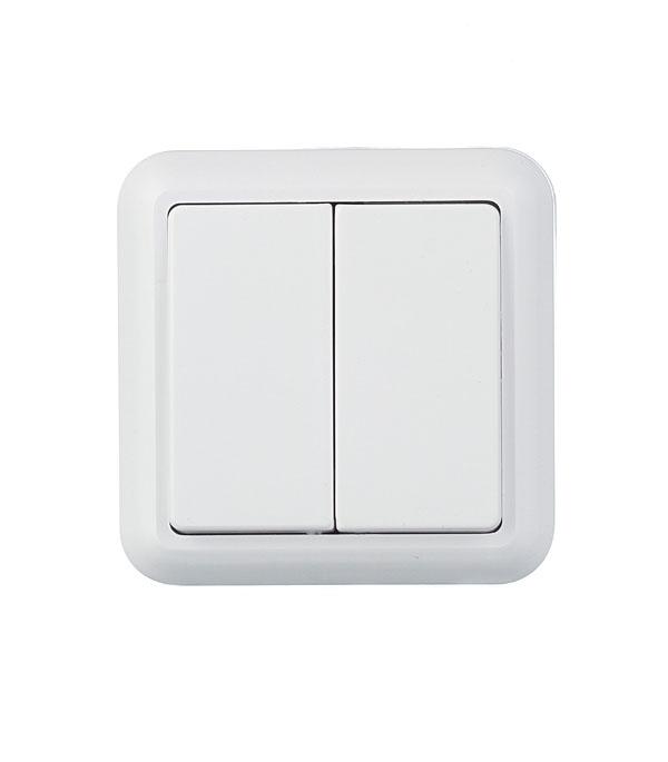 Выключатель двухклавишный Оптима о/у белый с монтажной пластиной 250В 10А выключатель двухклавишный legrandquteo о у белый