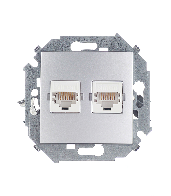 Розетка компьютерная двойная RJ45 кат.5е алюминий Simon 15