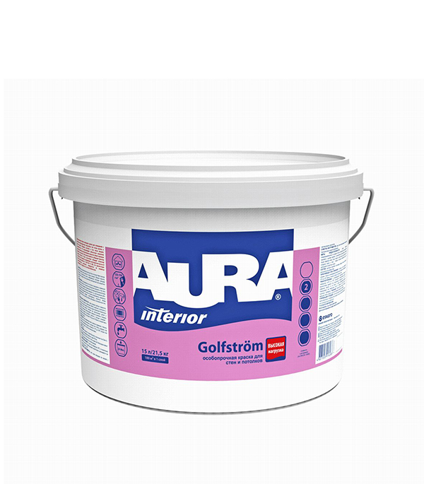 Краска в/д моющаяся особопрочная Interior Aura Golfstrom основа А 15 л