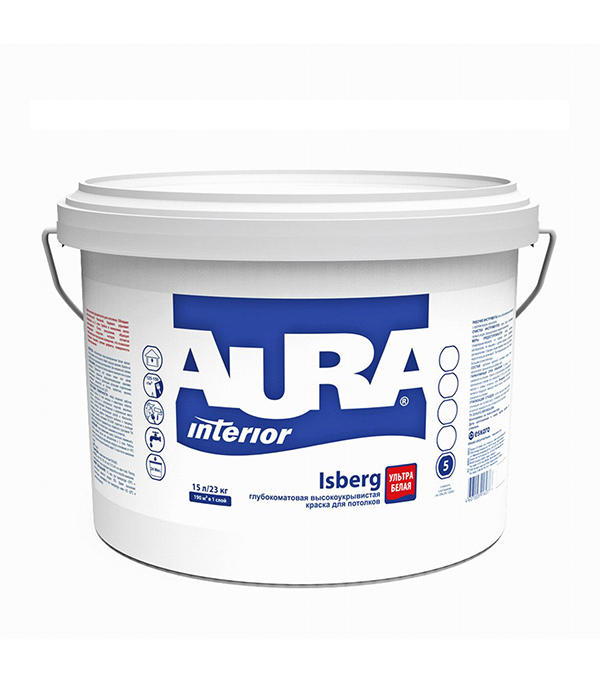 Краска в/д для потолка Aura Interior Isberg 15 л