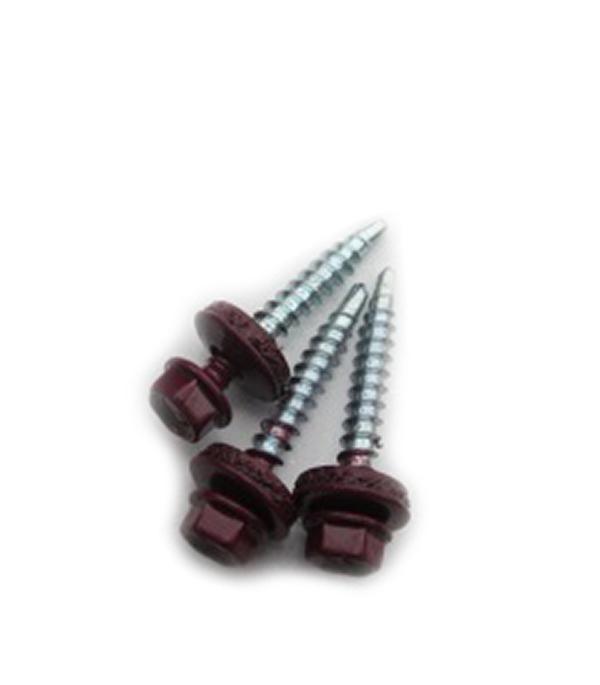 Саморезы кровельные с буром, 19х5,5 мм красное вино RAL 3005
