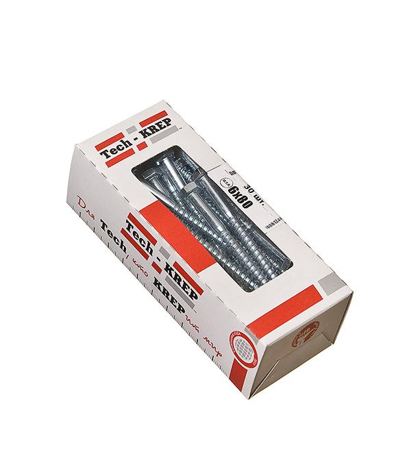 Болты сантехнические оцинкованные    6х80 мм DIN 571 (30 шт)