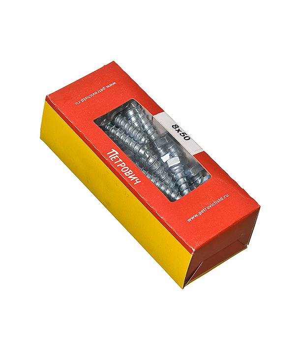 Болты сантехнические оцинкованные 8х50 мм DIN 571 (25 шт)  болты сантехнические оцинкованные 8х60 мм din 571 25 шт