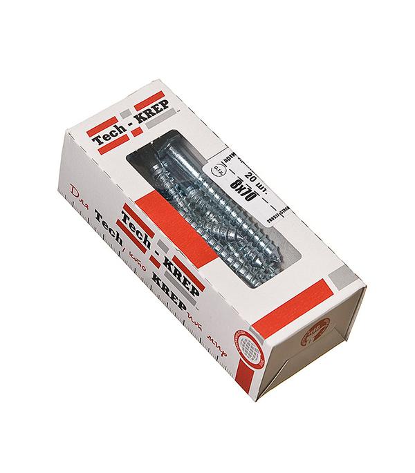 Болты сантехнические оцинкованные 8х70 мм DIN 571 (20 шт) болты сантехнические оцинкованные 6х90 мм din 571 30 шт