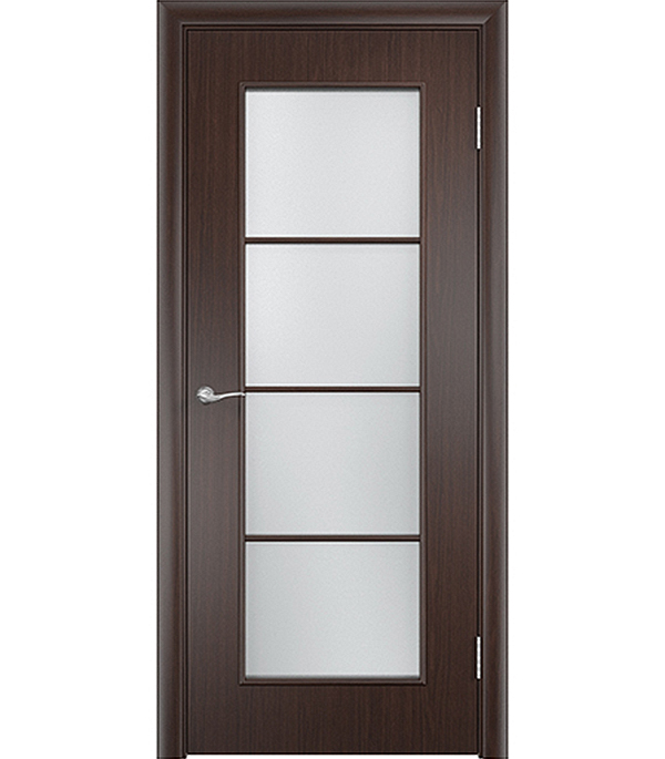 Дверное полотно экошпон Верда С-8 Венге 800х2000 мм, со стеклом, без притвора