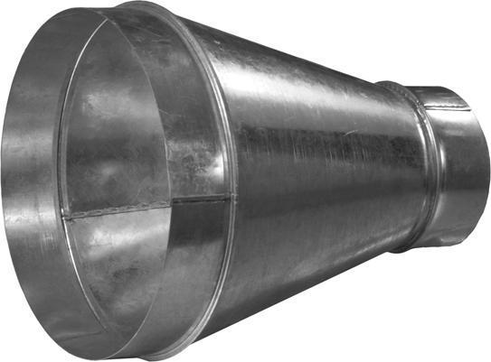 Переход оцинкованный с круглых воздуховодов d200 мм на круглые d125 мм