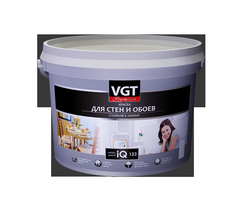 Краска в/д  моющаяся для обоев и стен  iQ123 основа  А глубокоматовая VGT 9 л