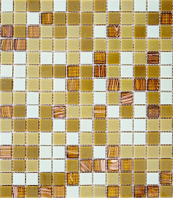 Мозаика стекломасса 327х327х4 мм карамельный микс на сетке (10 шт = 1,07 кв.м)