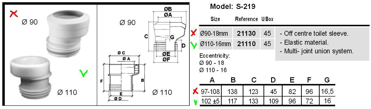 Слив для унитаза эксцентриковый 110 мм Jimten S-219