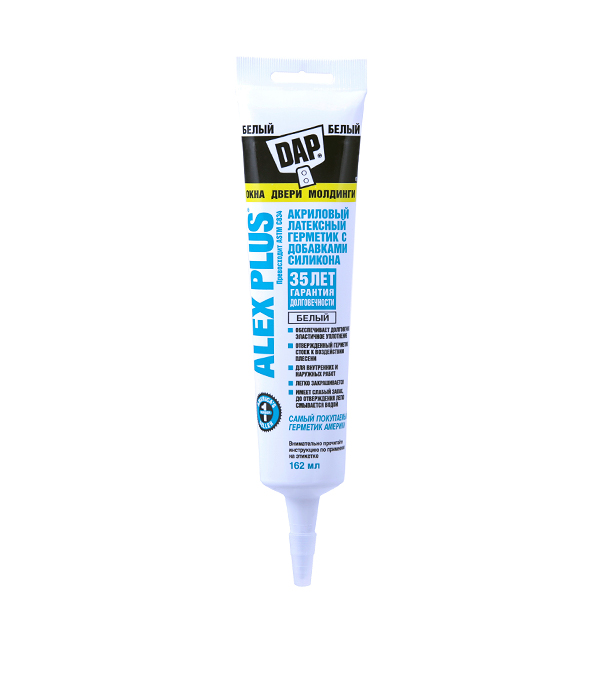 Герметик силиконовый DAP Аlex Plus нейтральный 162 мл белый