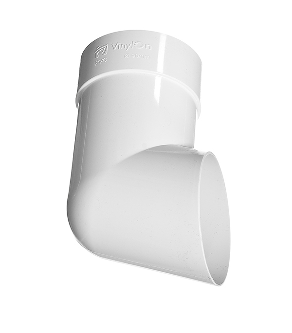 Колено стока пластиковое (слив трубы) d90 мм белый VINYL-ON