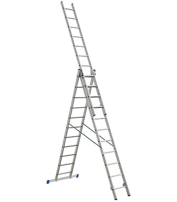 Лестница Tikli 3-х секционная выдвижная профессиональная 3x11 лестница алюминиевая 3 х секционная 9 ступеней в спб