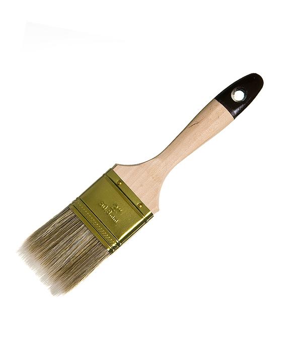 Кисть плоская  50 мм смешанная щетина деревянная ручка (для лаков) Hardy Стандарт