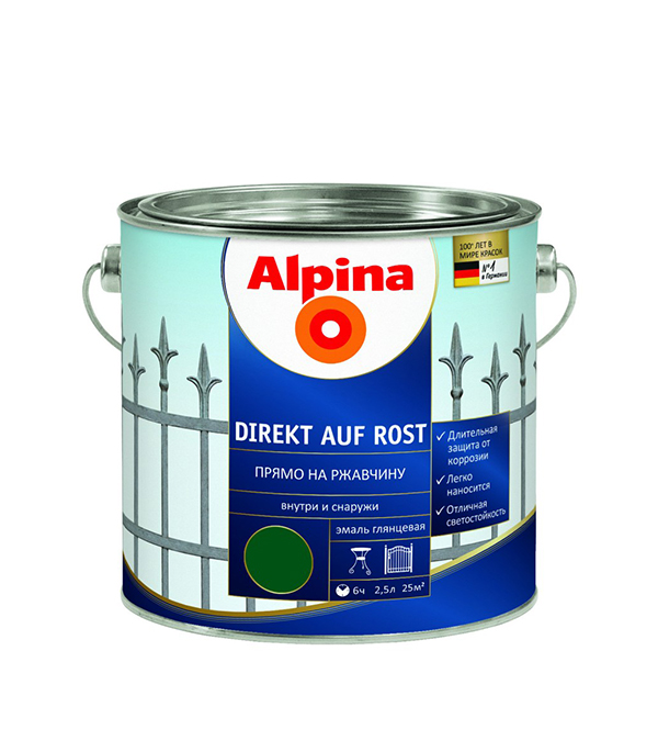 Эмаль по ржавчине Alpina зеленая RAL6005 2.5 л