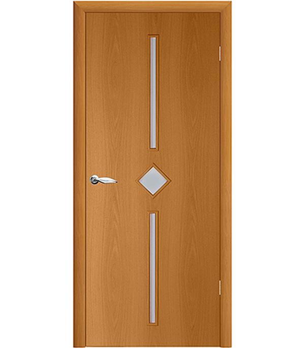 Дверное полотно ламинированное Кристалл Миланский орех гладкое 800х2000 мм со стеклом