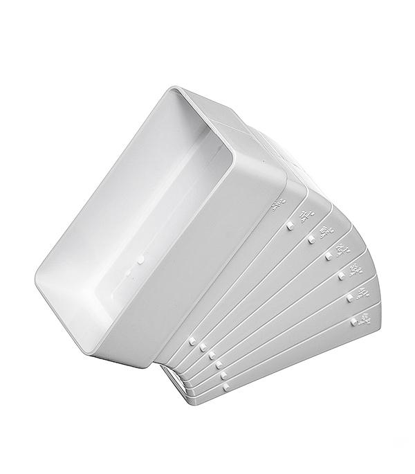 Колено для плоских воздуховодов горизонтальное пластиковое 60х120 мм, разноугловое