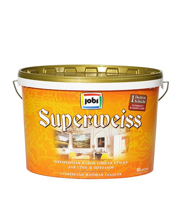 Краска в/д влагостойкая супербелая матовая акриловая JOBI SUPERWEISS 10 л