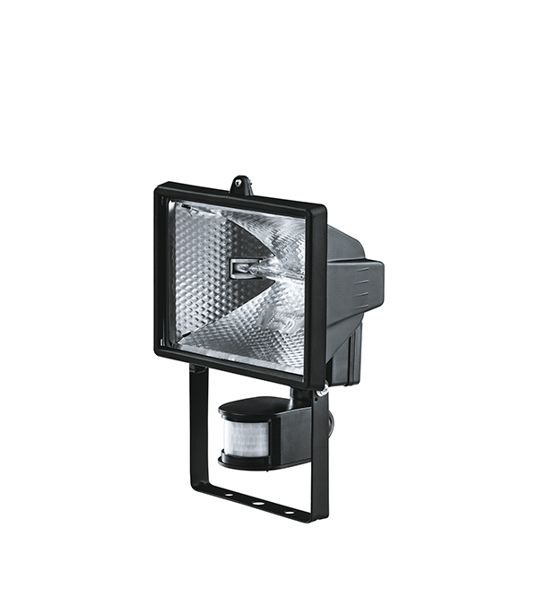 Прожектор галогенный  500 Вт, с датчиком движения, черный