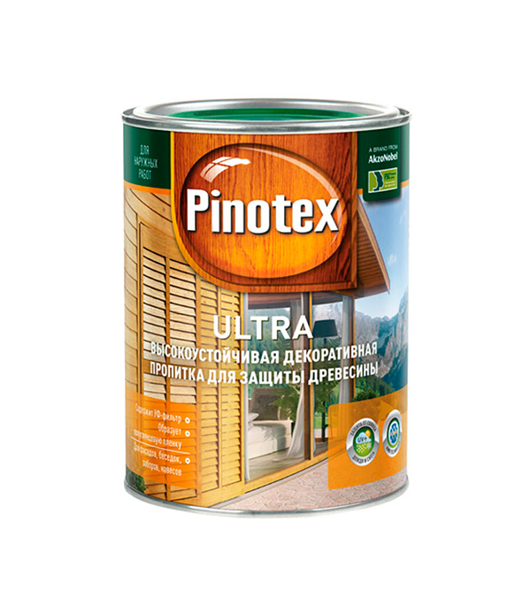 Декоративно-защитная пропитка для древесины Pinotex Ultra тик 1 л пинотекс ultra антисептик орех 1 л