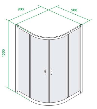 Дверки душевые полукруглые для высокого поддона 900х900х1500 мм