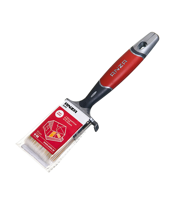 Кисть плоская Anza 50 мм искусственная щетина прорезиненная ручка  кисть плоская 70 мм искусственная щетина прорезиненная ручка anza профи