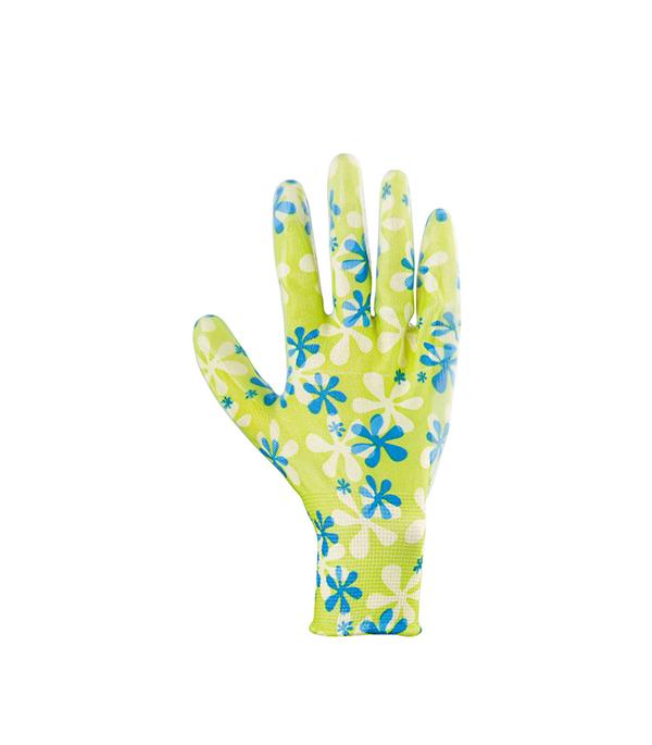 Перчатки из полиэстера с нитриловым обливом, зеленые (размер S) Стандарт