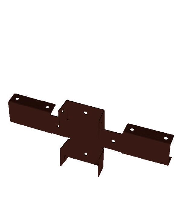 Кронштейн для столба заборного 62х55мм коричневый RAL 8017