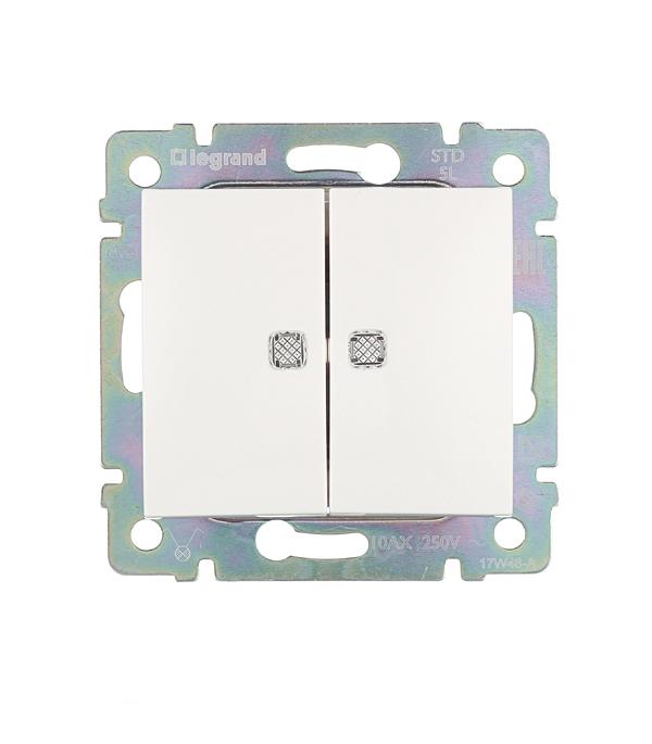 Механизм выключателя двухклавишного Legrand Valena с/у с подсветкой белый розетки и выключатели legrand valena купить дешево