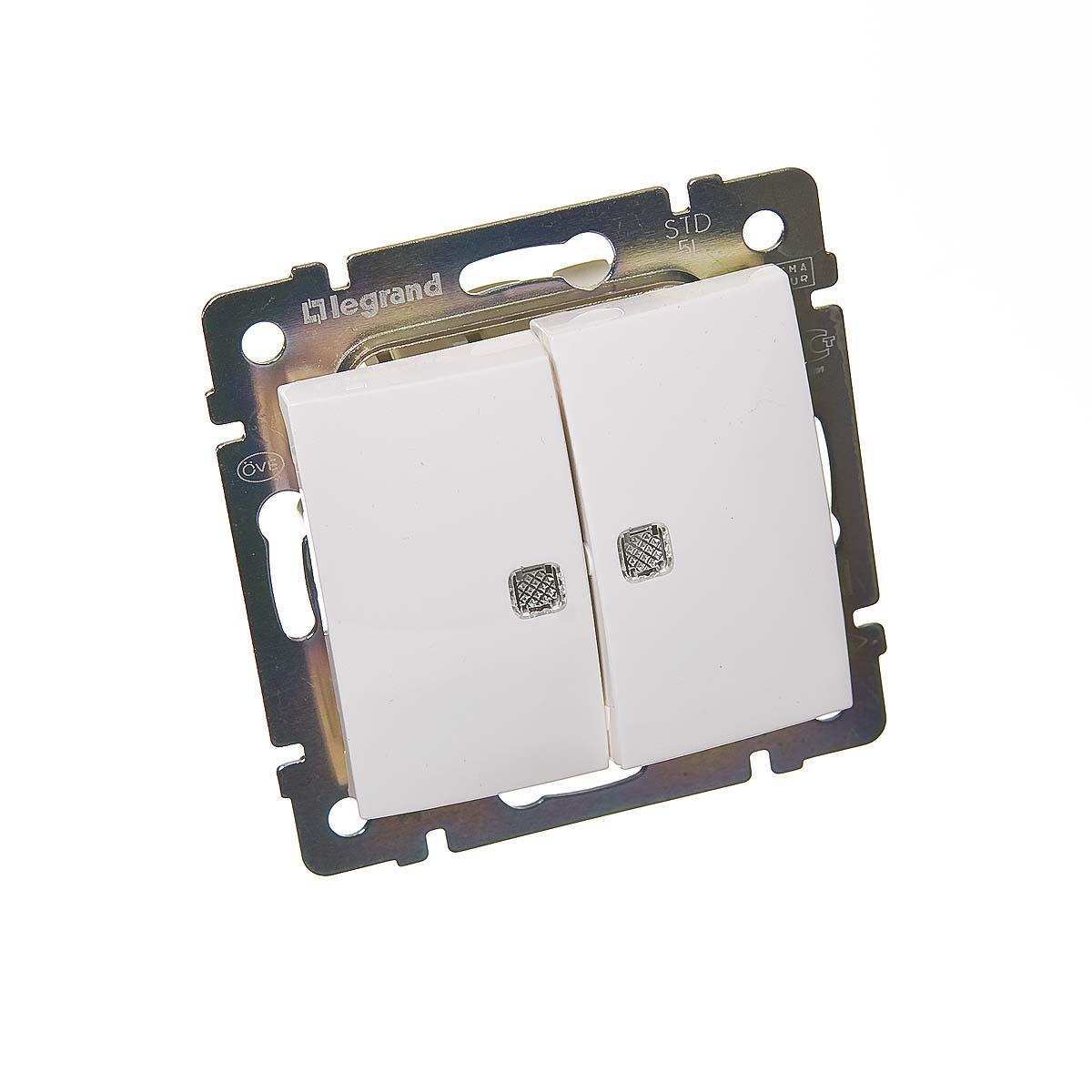 Механизм выключателя двухклавишного с/у с подсветкой Legrand Valena белый