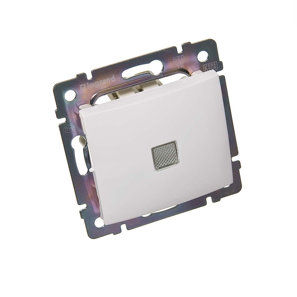 Механизм выключателя oдноклавишного с/у с подсветкой Legrand Valena белый