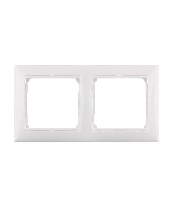 Рамка двухместная Legrand Valena белая  рамка legrand valena четырехместная белая 774454