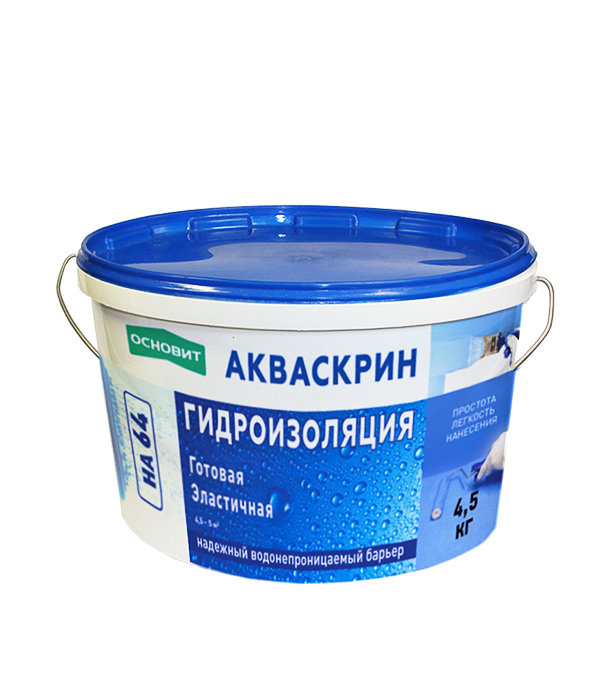 Гидроизоляция Основит Акваскрин НА64 4,5 кг кровля и гидроизоляция