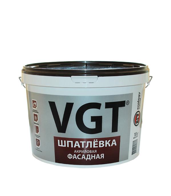 Шпатлевка фасадная VGT акриловая 18 кг восковый состав защитный vgt по венецианской штукатурке 0 9 кг