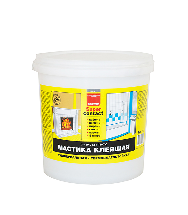 Мастика клеящая универсальная термостойкая NEOMID 9 кг мастика клеящая neomid supercontact термостойкая 20кг