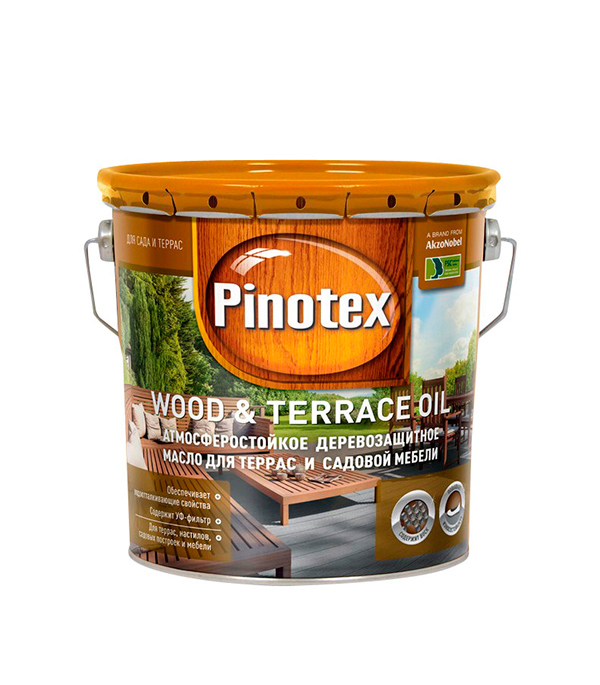 Масло для террас Пинотекс Wood&Terrace Oil б/цв 2,7 л