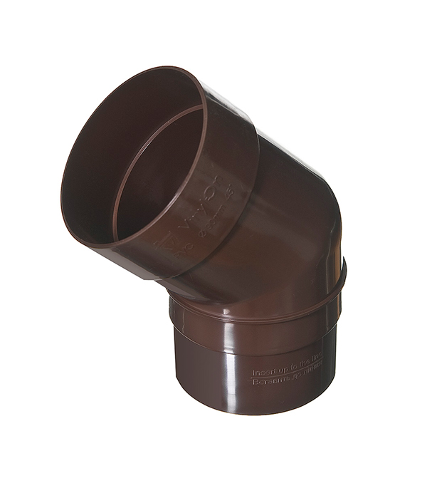 Колено трубы пластиковое d90 мм, 45° коричневое (кофе) VINYL-ON