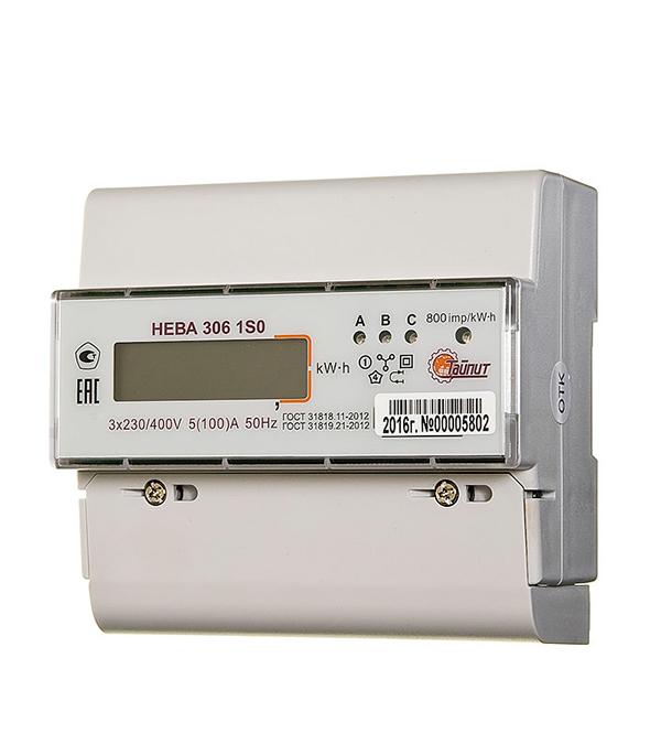 Счетчик 3-фазный электронный 1-тарифный Нева 306 1SO на дин-рейку