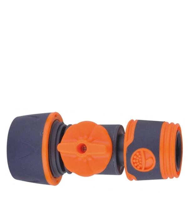 Коннектор с краном для поливочного шланга 3/4 коннектор пружинный для шланга truper 3 4