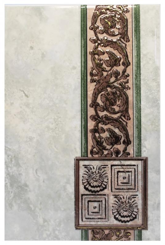 Плитка декор 200х300х7 мм Иберия зеленая