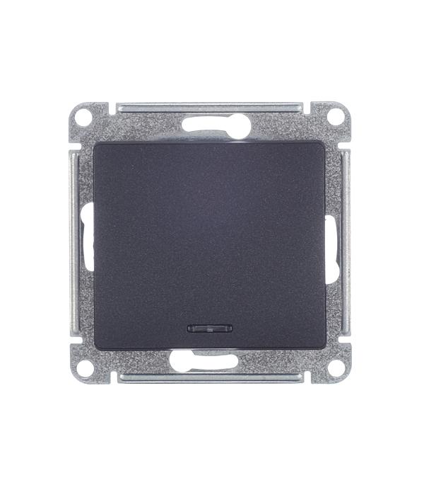 Механизмвыключателяoдноклавишногос/усподсветкойSchneiderElectricGlossaантрацит механизм выключателя schneider electric glossa белый 1 клавишный с подсветкой gsl000113